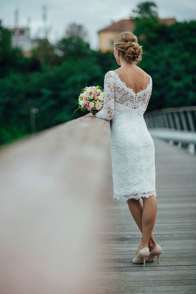 Long Sleeve Lace Short Fitted Wedding Dress - daisystyledress