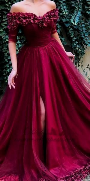 Half Sleeve Burgundy Prom Dress - daisystyledress