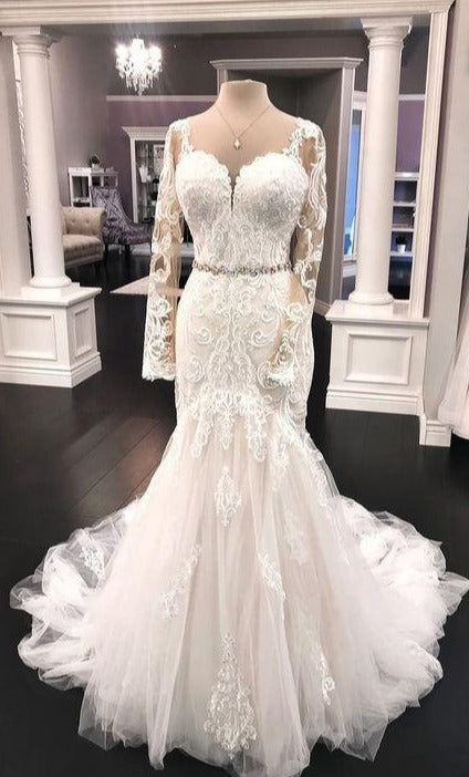 Mermaid Long Sleeve Lace Wedding Dress - daisystyledress