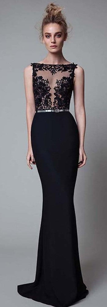 Sexy Mermaid V-back Black Evening Dress - daisystyledress