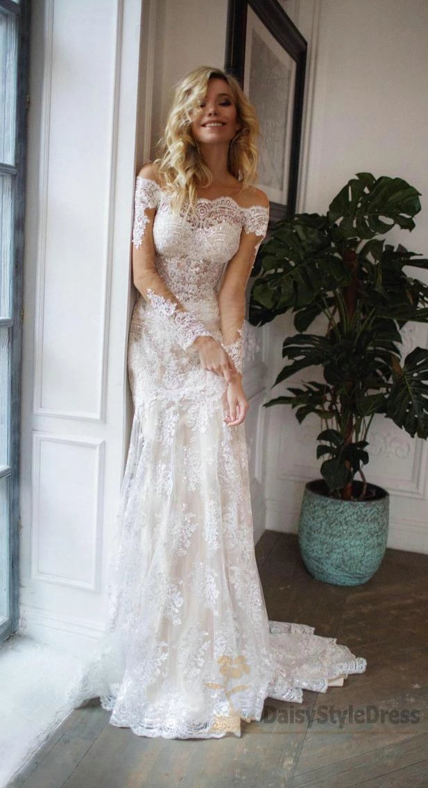 Off Shoulder Long Sleeve Lace Mermaid Tight Wedding Dress - daisystyledress