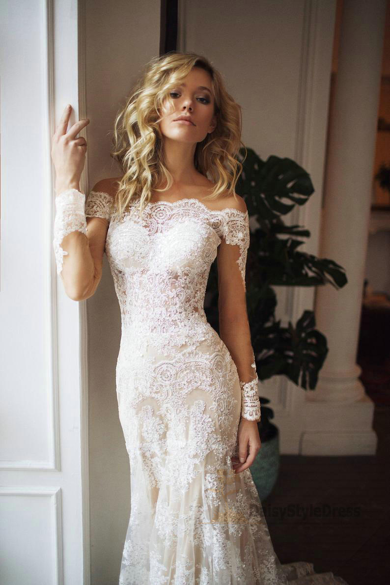 Mermaid Off Shoulder Long Sleeve Lace Wedding Dress - daisystyledress