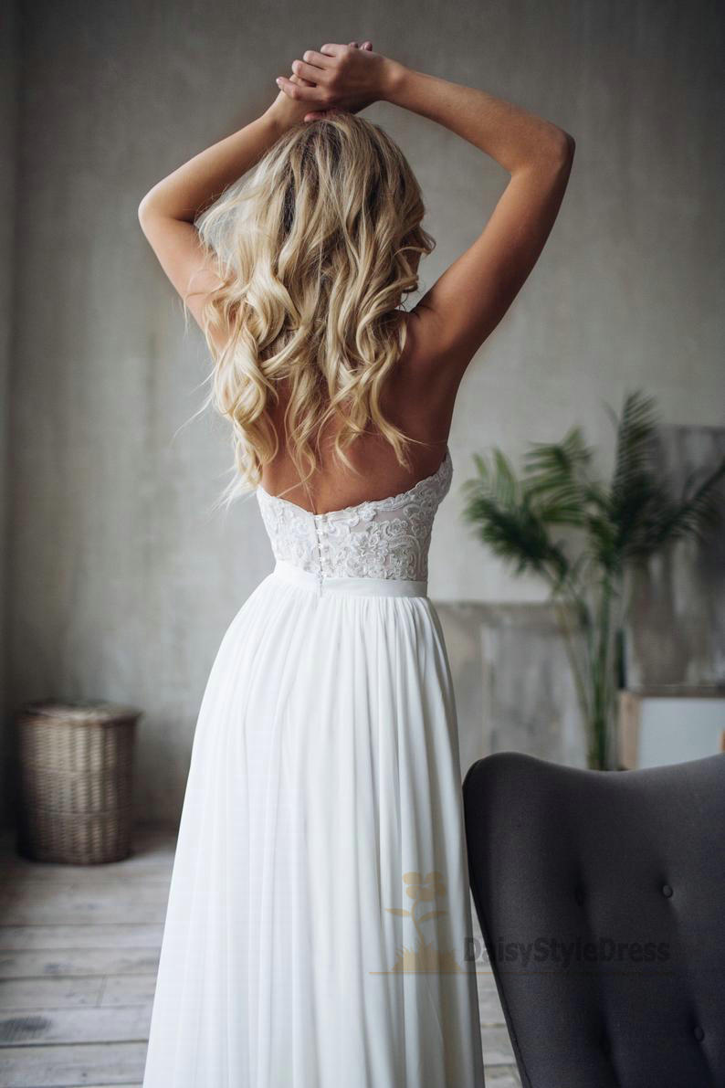 Simple Sweetheart Neckline Sexy Slit Wedding Dress - daisystyledress