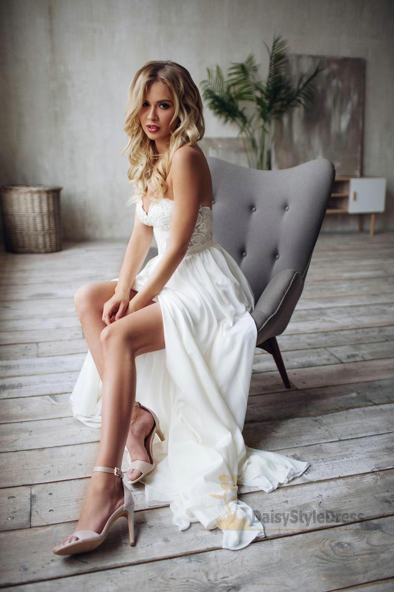 Sexy Slit Wedding Dress