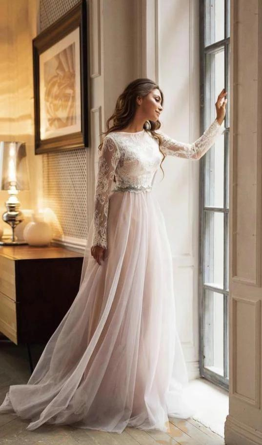 Modest Long Lace Sleeve Blush Tulle Wedding Dress - daisystyledress