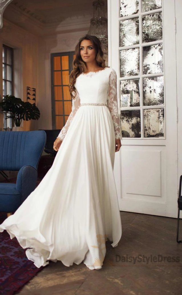 Fashion Long Sleeve Lace V-back Wedding Dress - daisystyledress