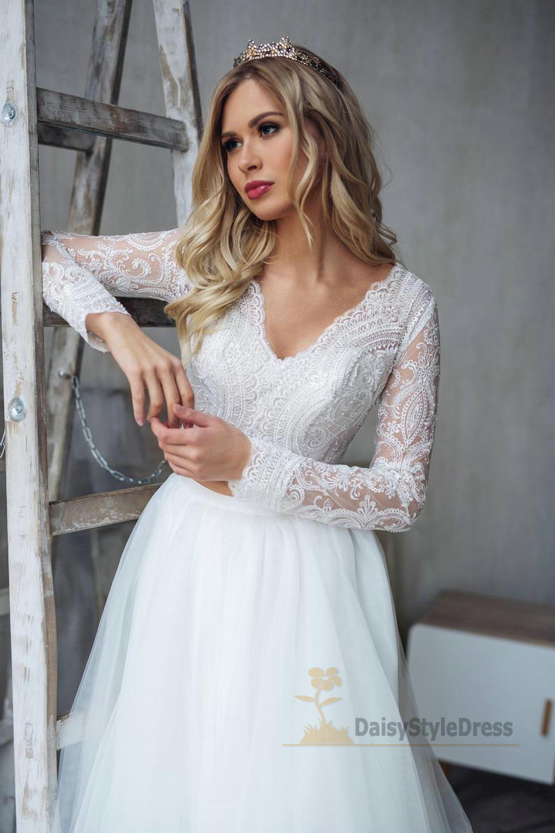Long Lace Sleeve Two Piece Wedding Dress - daisystyledress