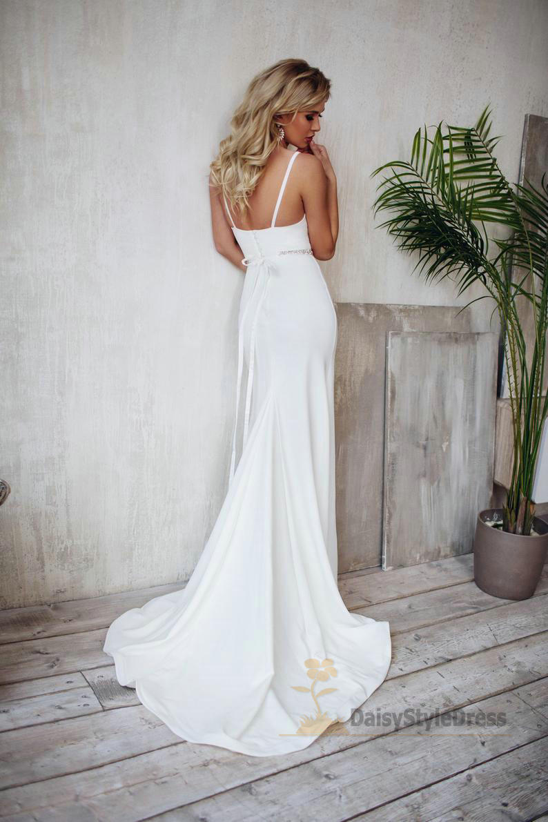 Mermaid Spaghetti Straps Wedding Dress - daisystyledress