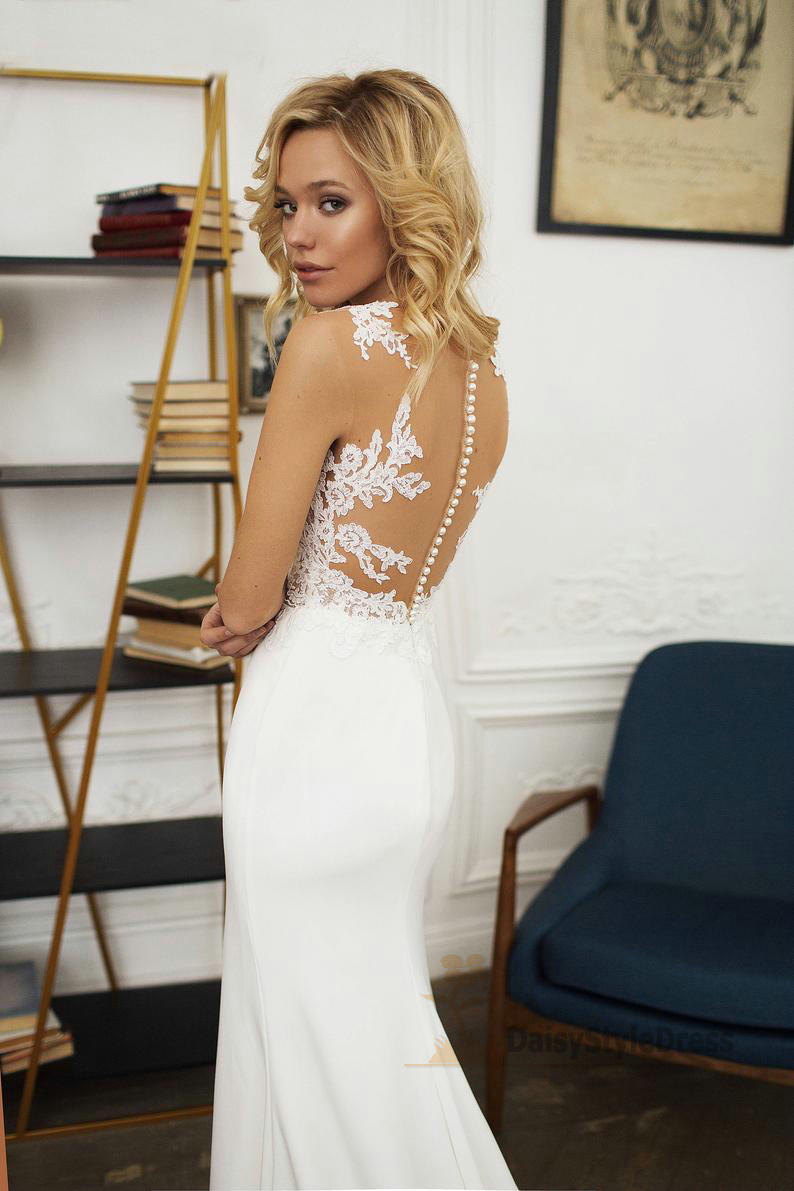 Sexy Mermaid Illusion Lace Wedding Dress - daisystyledress
