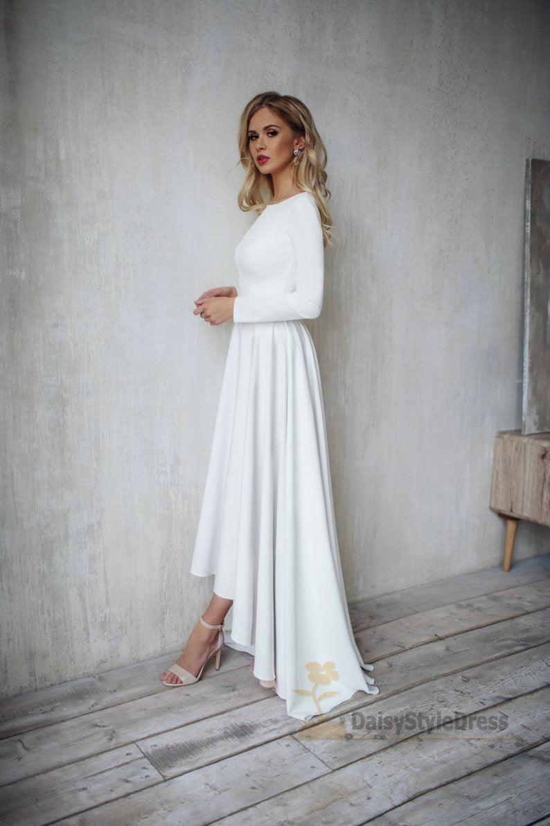 Informal Long Sleeve High Low V-back Boho Wedding Dress - daisystyledress