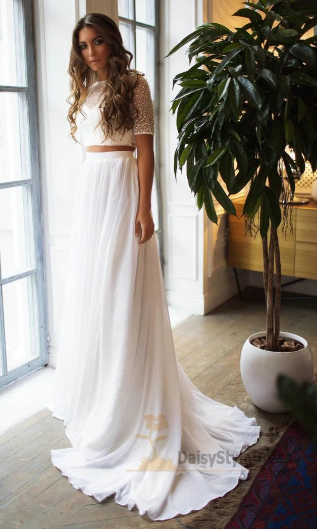 Beaded Half Sleeve Two Piece Wedding Dress - daisystyledress