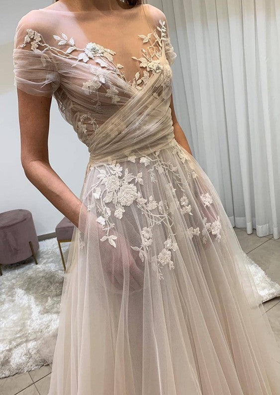 sheer wedding dress