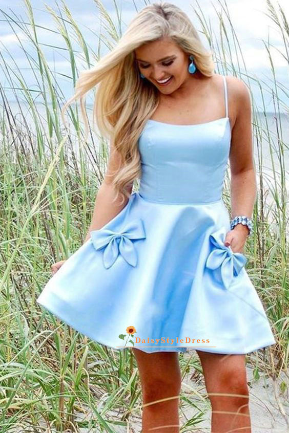 short blue homecoming dress