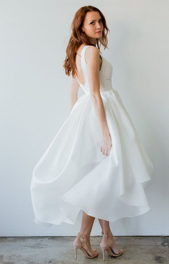 Simple High Low Informal Wedding Dress - daisystyledress