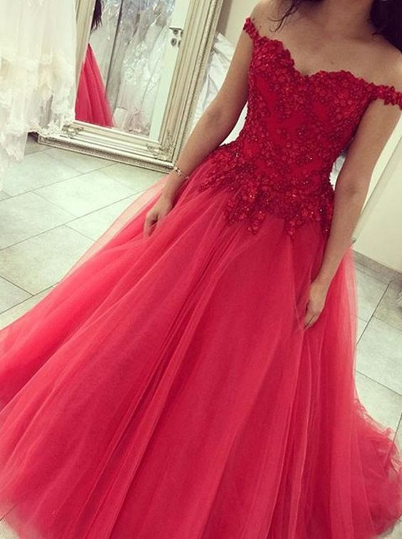 Ball Gown Off Shoulder Sleeve Red Prom Dress - daisystyledress