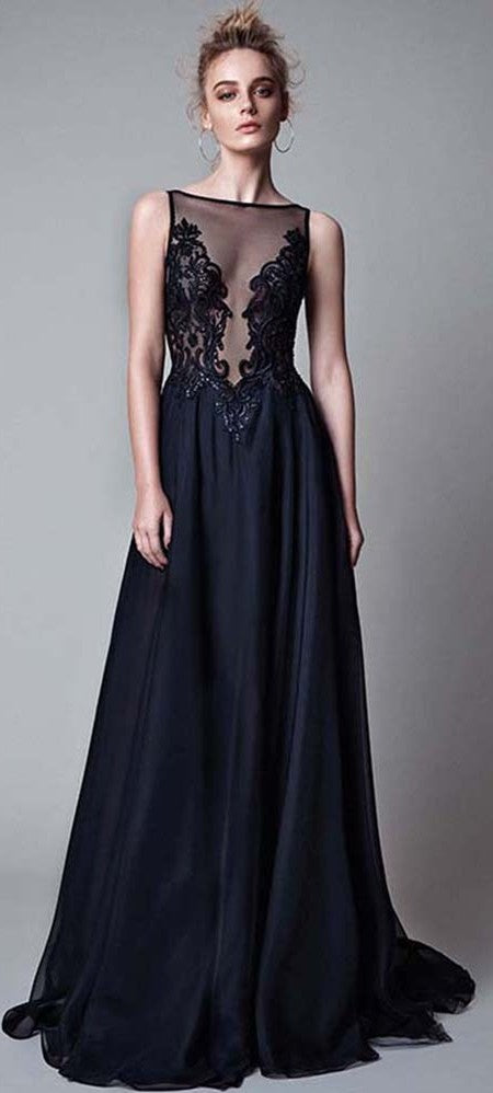 Sexy Open Back Dark Navy Illusion Lace Prom Dress - daisystyledress