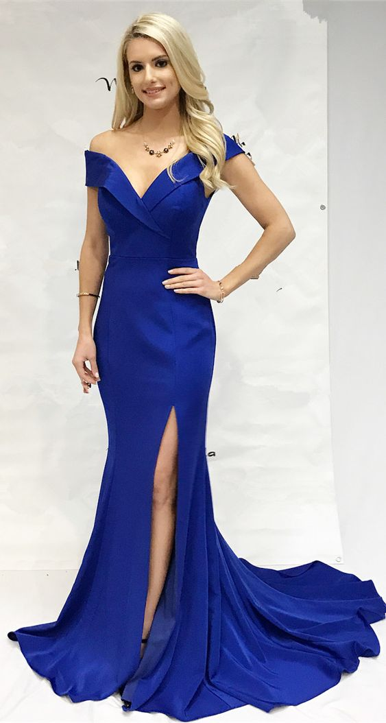 Mermaid Slit Off Shoulder Sleeves Royal Blue Prom Dress - daisystyledress