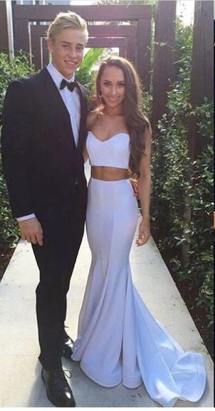 Sexy Mermaid Two Pieces White Prom Dress - daisystyledress
