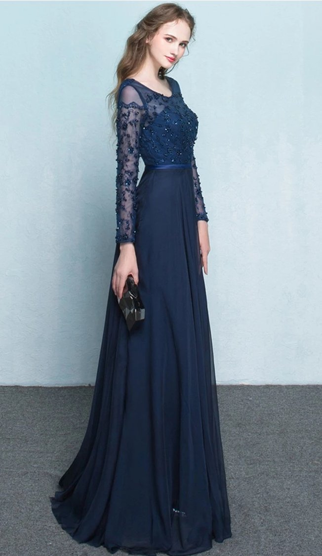 A line Long Sleeves Navy Blue Formal Party Dress - daisystyledress