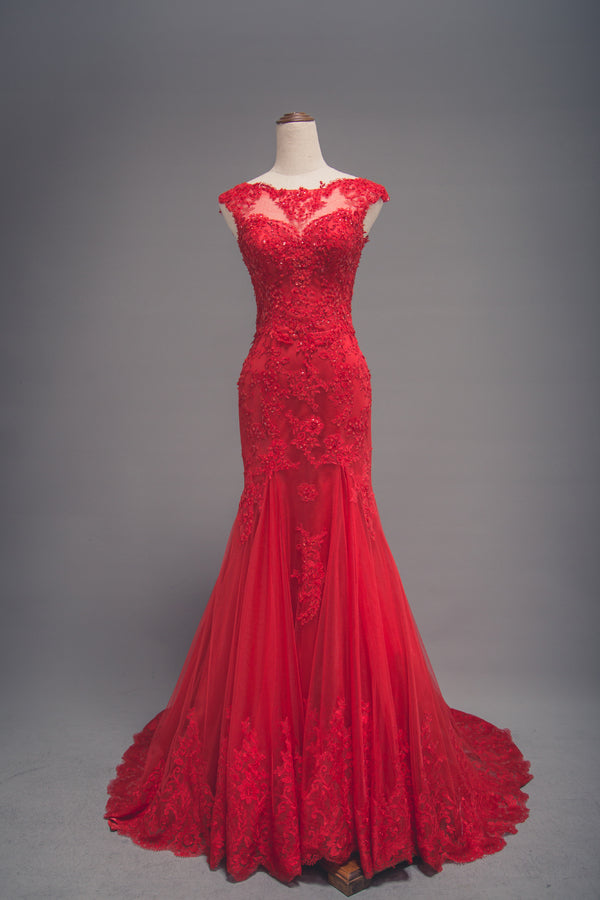 Modest Mermaid Red Lace Wedding Dress - daisystyledress
