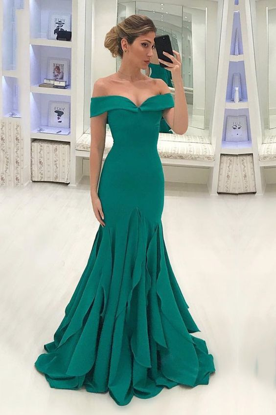 Mermaid Off Shoulder Sleeve Green Formal Party Dress - daisystyledress