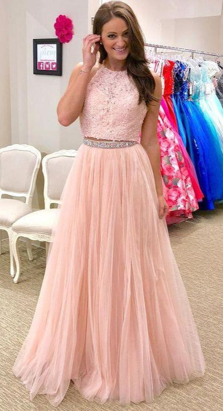 Two Pieces Blush Pink Prom Dress - daisystyledress