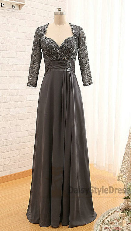 Long Sleeves Dark Grey Mother of Bride Dress - daisystyledress