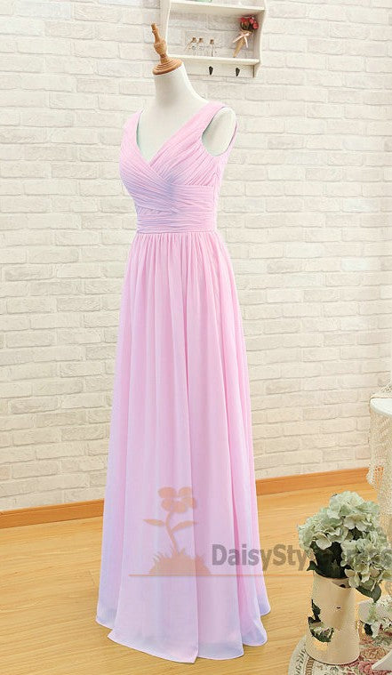 Long V-neckline Bridesmaid Dress - daisystyledress