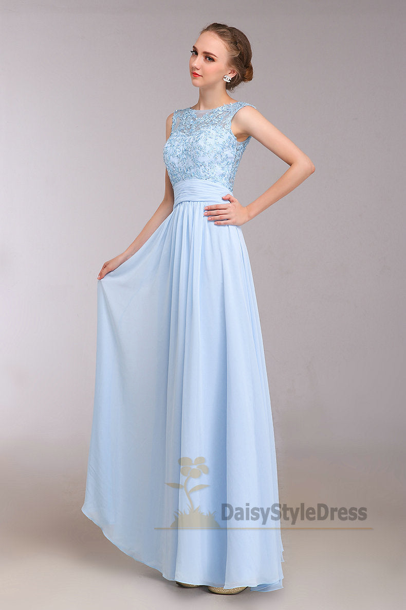 Full Length Light Blue Evening Dress - daisystyledress