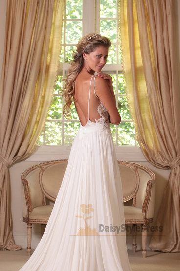 Sexy Open Back Boho Wedding Dress - daisystyledress