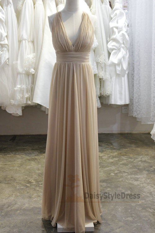 Full Length V-neckline Champagne Evening Dress - daisystyledress