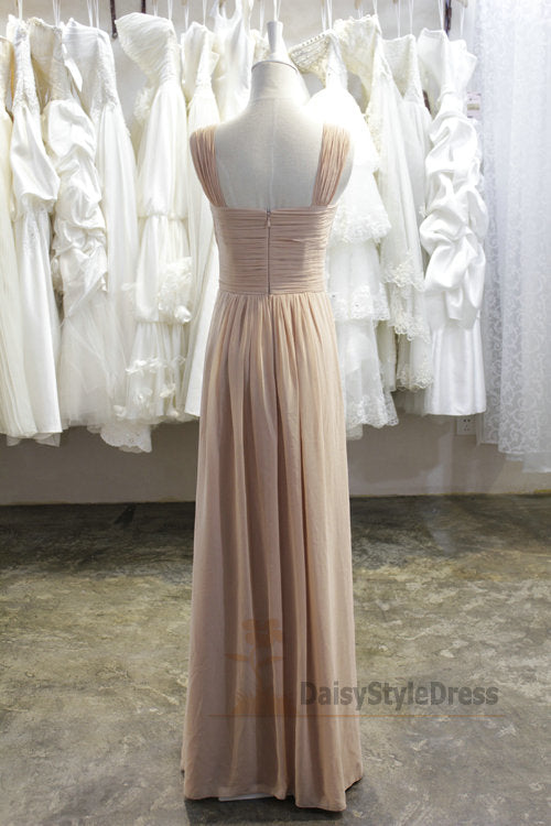 Long Wide Straps Champagne Bridesmaid Dress - daisystyledress