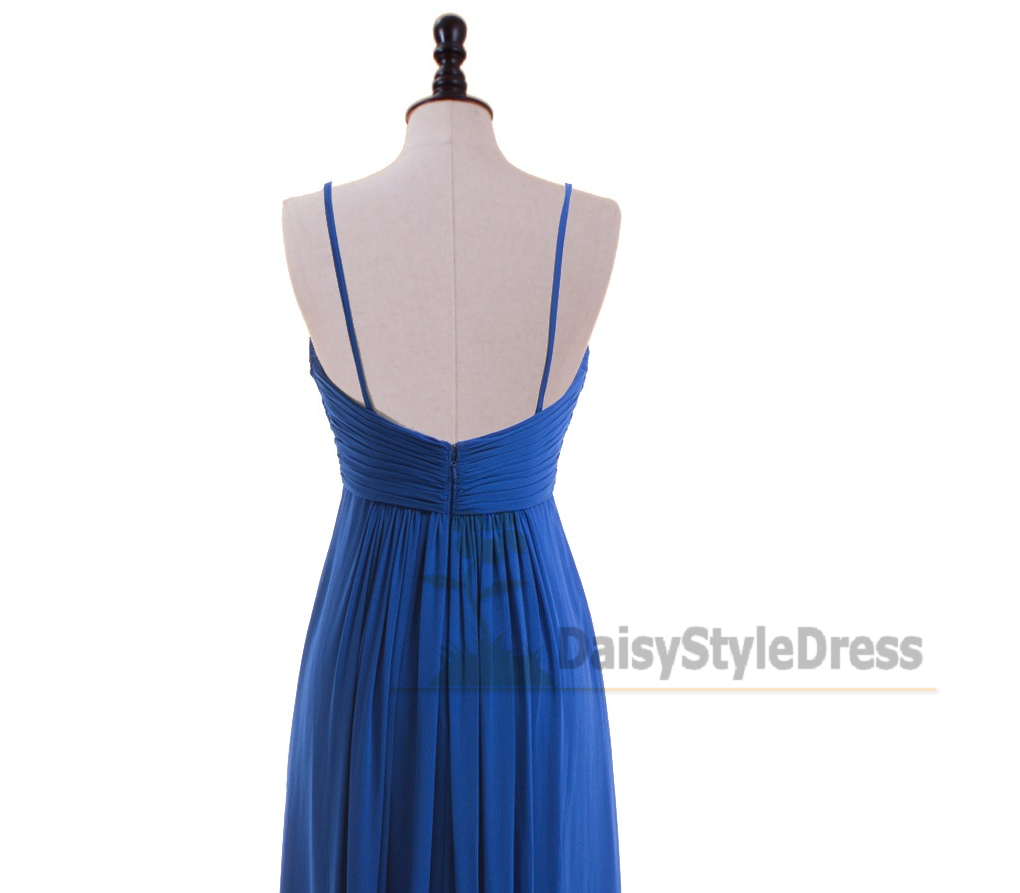 Spaghetti Straps Royal Blue Bridesmaid Dress - daisystyledress