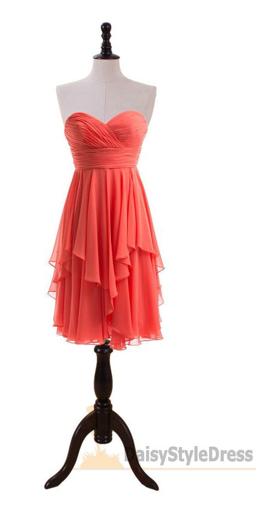 Knee Length Sweetheart Coral Bridesmaid Dress - daisystyledress