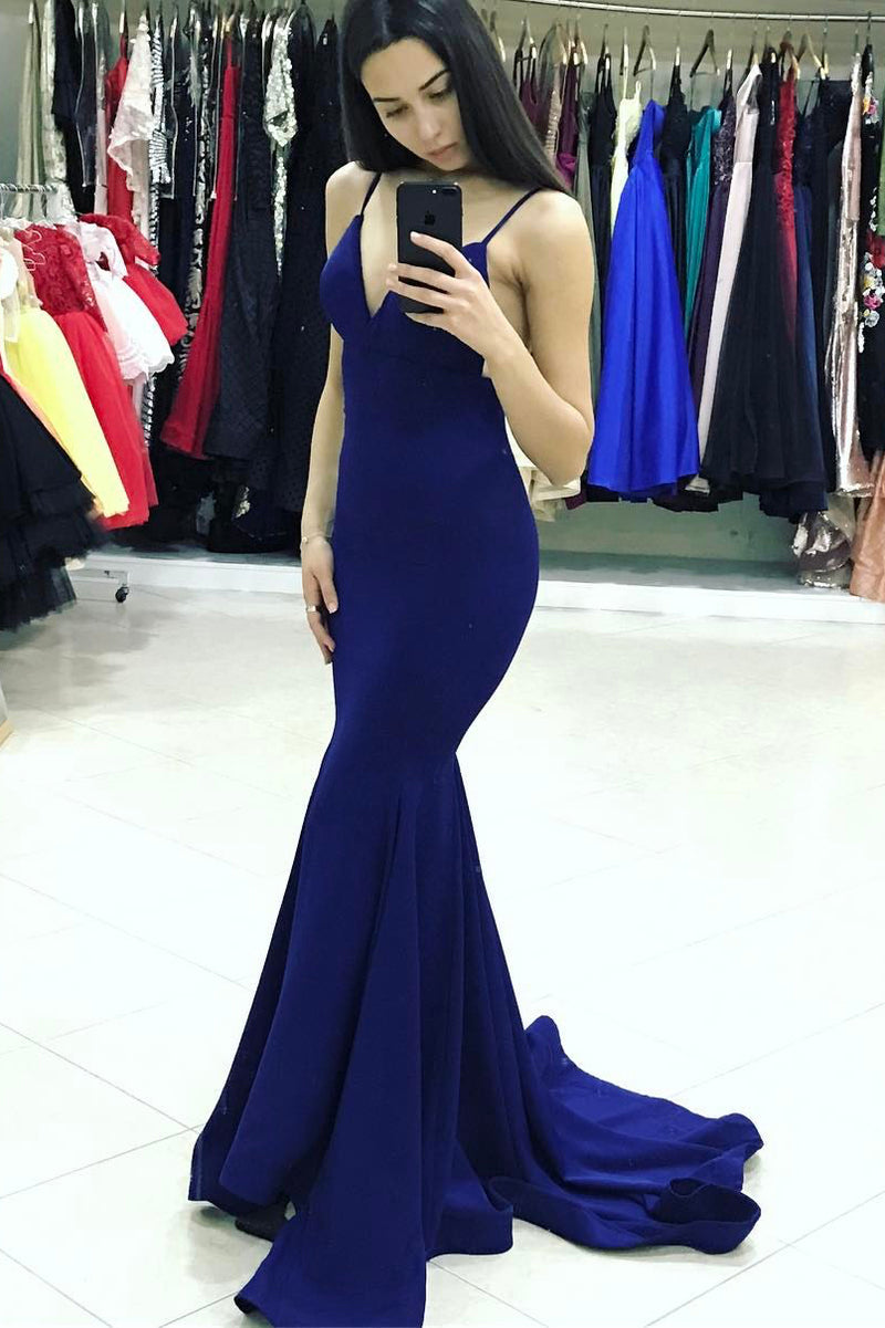 Mermaid Spaghetti Straps Royal Blue Prom Dress - daisystyledress