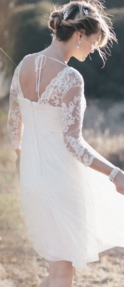 Informal Long Sleeve Lace Boho Short Wedding Dress - daisystyledress