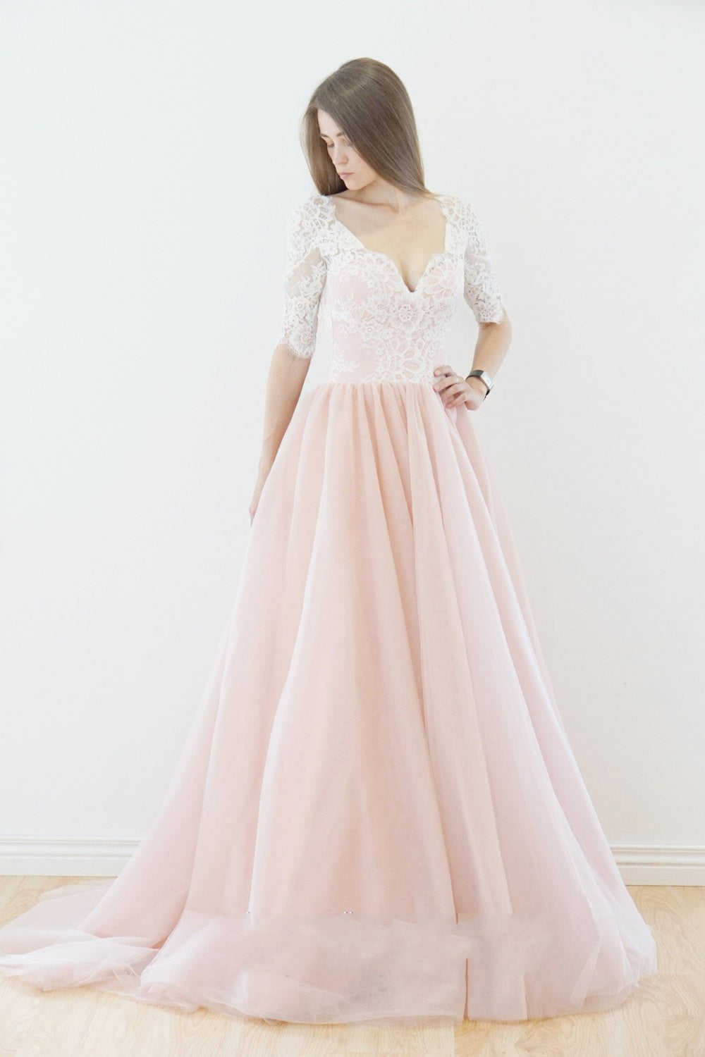 Off Shoulder Long Sleeve Blush Pink Wedding Dress - daisystyledress