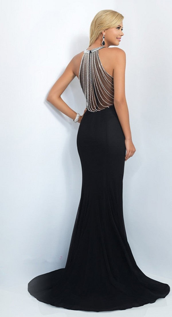 Mermaid High Neck Black Evening Dress - daisystyledress