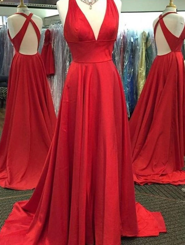 Long Sexy Slit Red Prom Dress - daisystyledress