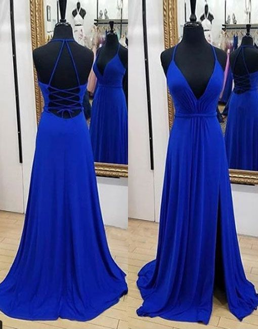 A line Spaghetti Straps Royal Blue Slit Prom Dress - daisystyledress