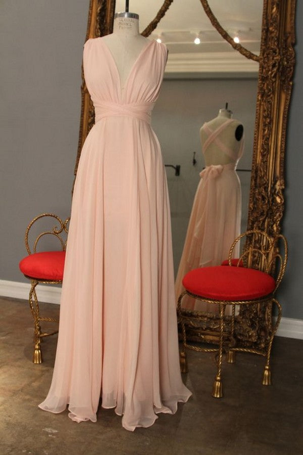 Long Open Back Pink Bridesmaid Dress - daisystyledress