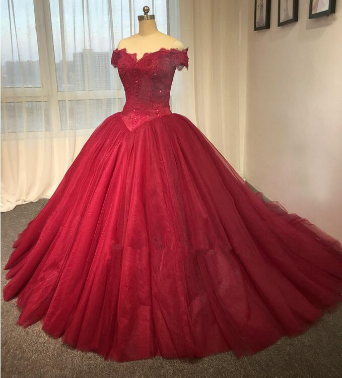 Ball Gown Off Shoulder Sleeve Burgundy Lace Wedding Dress - daisystyledress