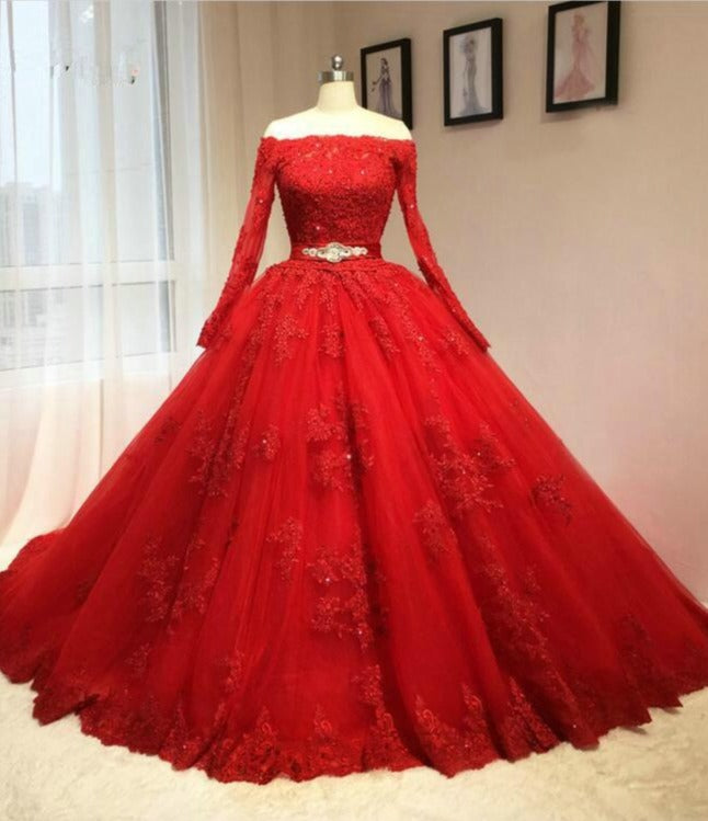 Ball Gown Long Sleeve Red Lace Plus Size Wedding Dress - daisystyledress