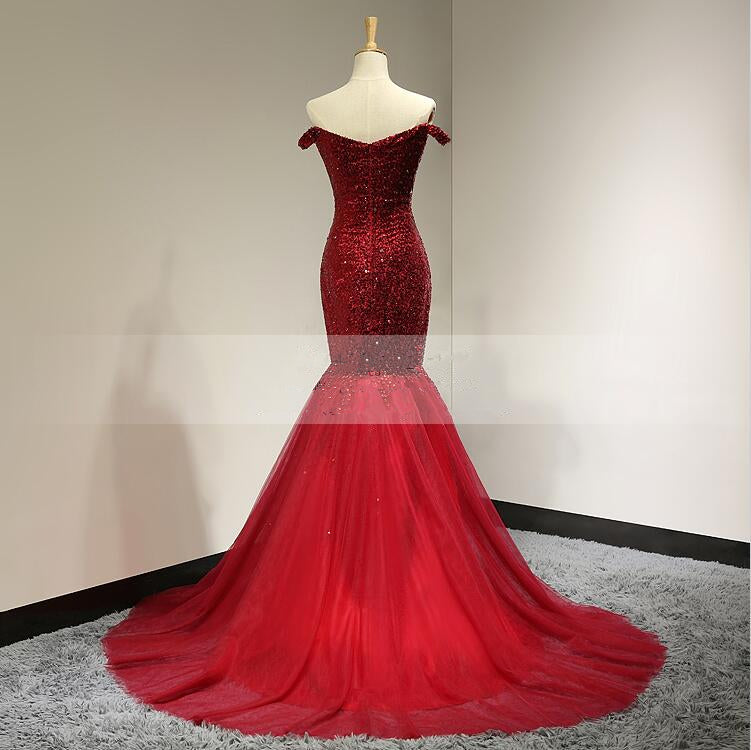 Mermaid Off Shoulder Red Sequins Prom Dress - daisystyledress