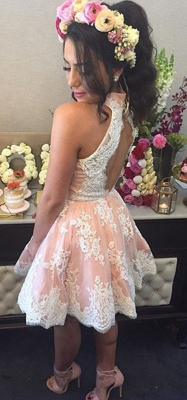 Short Halter Neckline Blush Lace Homecoming Dress - daisystyledress