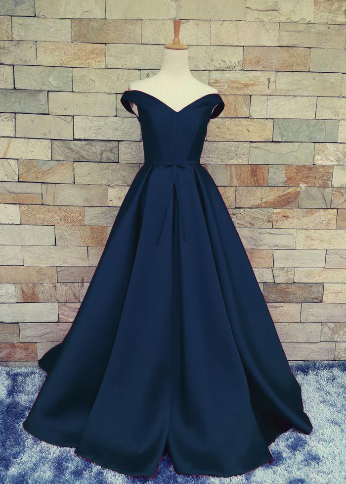 A line Off Shoulder Sleeves Navy Blue Prom Dress - daisystyledress