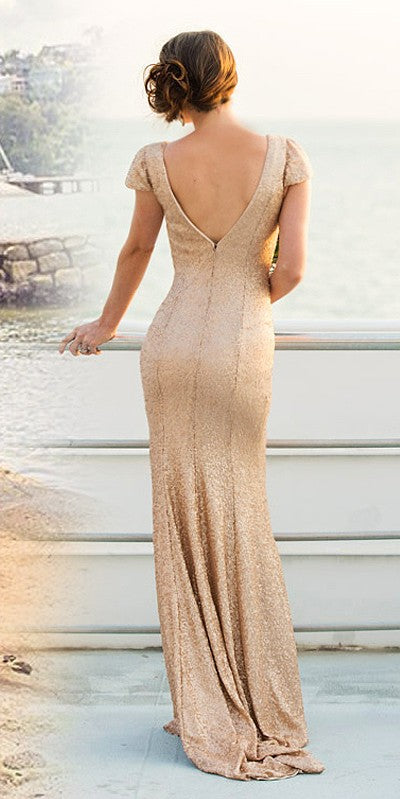 Sheath Short Sleeves Gold Sequins Bridesmaid Dress - daisystyledress