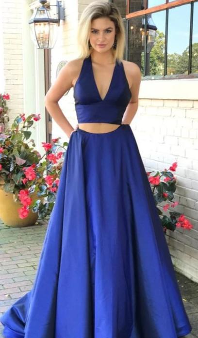 A line Two Pieces Royal Blue Prom Dress - daisystyledress