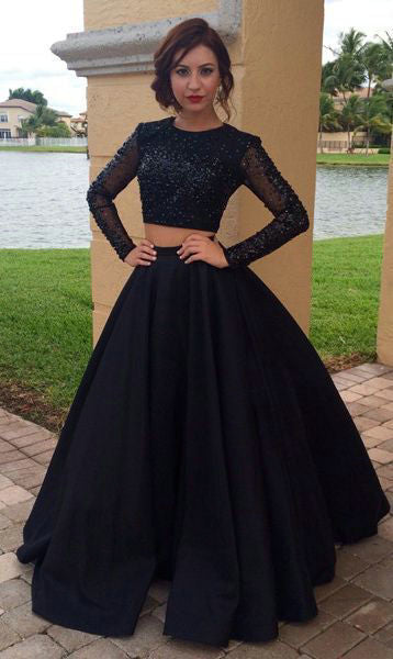 Ball Gown Black Two Piece Long Sleeve Prom Dress - daisystyledress