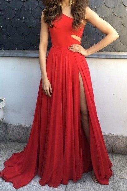 Sexy Slit One Shoulder Red Evening Dress - daisystyledress